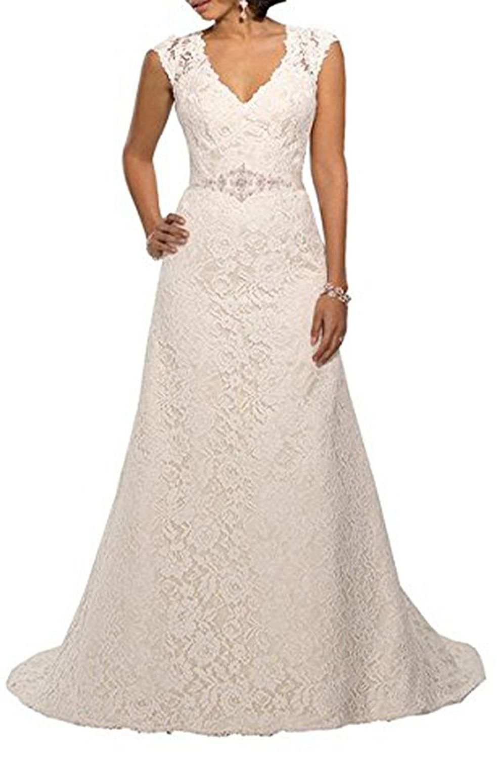 Yipeisha v neckline a line cap sleeve lace over satin wedding dress