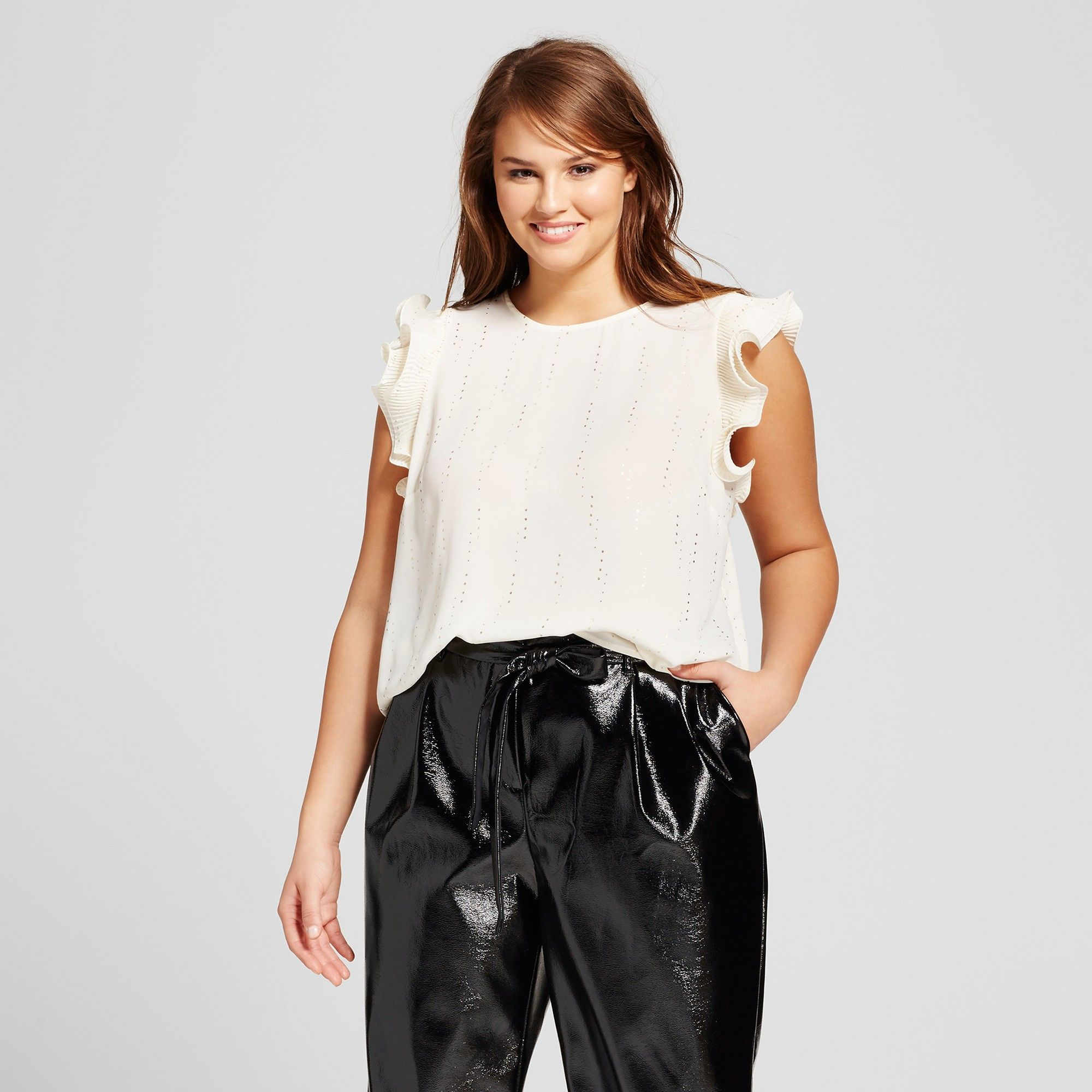 3d40e2fc35b16 Women s Plus Size Short Sleeve Metallic Frilled Tank Top - Who What Wear  White Gold Polka Dot 1X