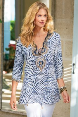 260ac3a7935 South Beach Tunic - Sequin Tunic Top, Womens Tunic Blouse, Blue Tunic Top | Soft  Surroundings