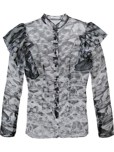 Shop Sophie Theallet sheer ruffled shoulders blouse.