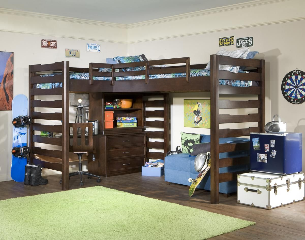 High loft bed with stairs  Loft Bed with  Drawer  Shelf Work Station HudsonsFurniture  boys