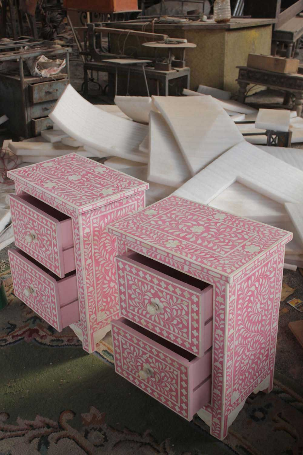 Buy Indian Furniture Store Pink Bone Inlay Two Drawer Bedside