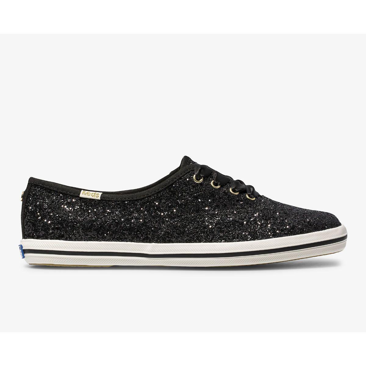 kate spade black glitter shoes