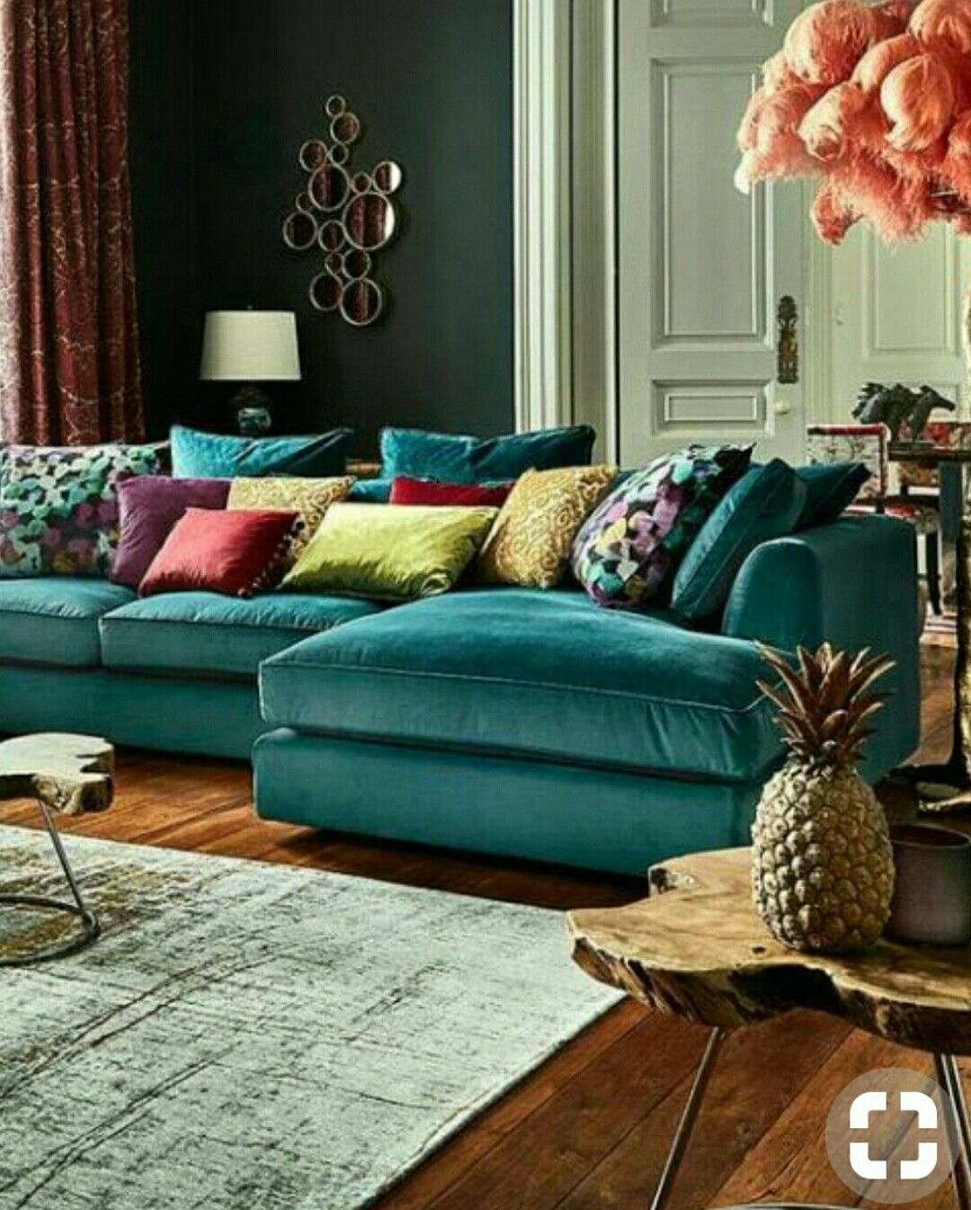 Love The Teal Velvet Sectional Couch This Has A Upscale Boho Feel