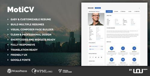 Download ThemeForest Moticv v101 vCard and Resume Builder - wordpress resume themes