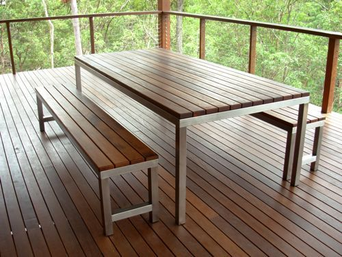 The Kas Table Is A Beautiful Timber And Stainless Steel Outdoor Dining Table,  Matching Benches Available.