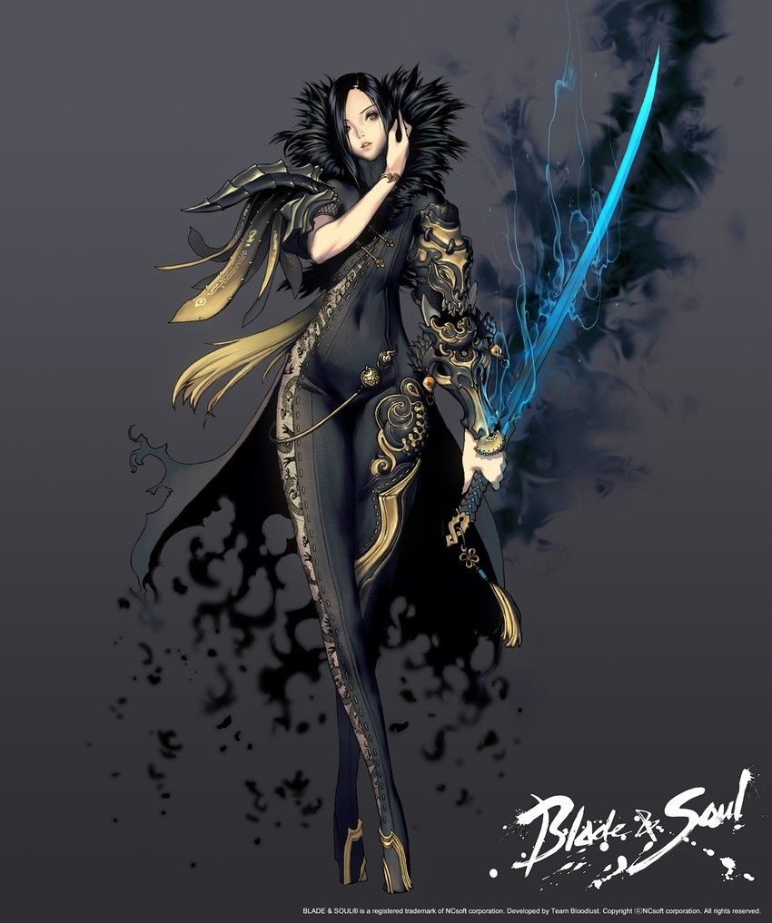 1girl armor black_hair blade_&_soul blonde_hair bodysuit fur_trim glowing glowing_weapon gradient_hair highres hyung_tae_kim katana legs multicolored_hair pauldrons ponytail simple_background sword title_drop weapon