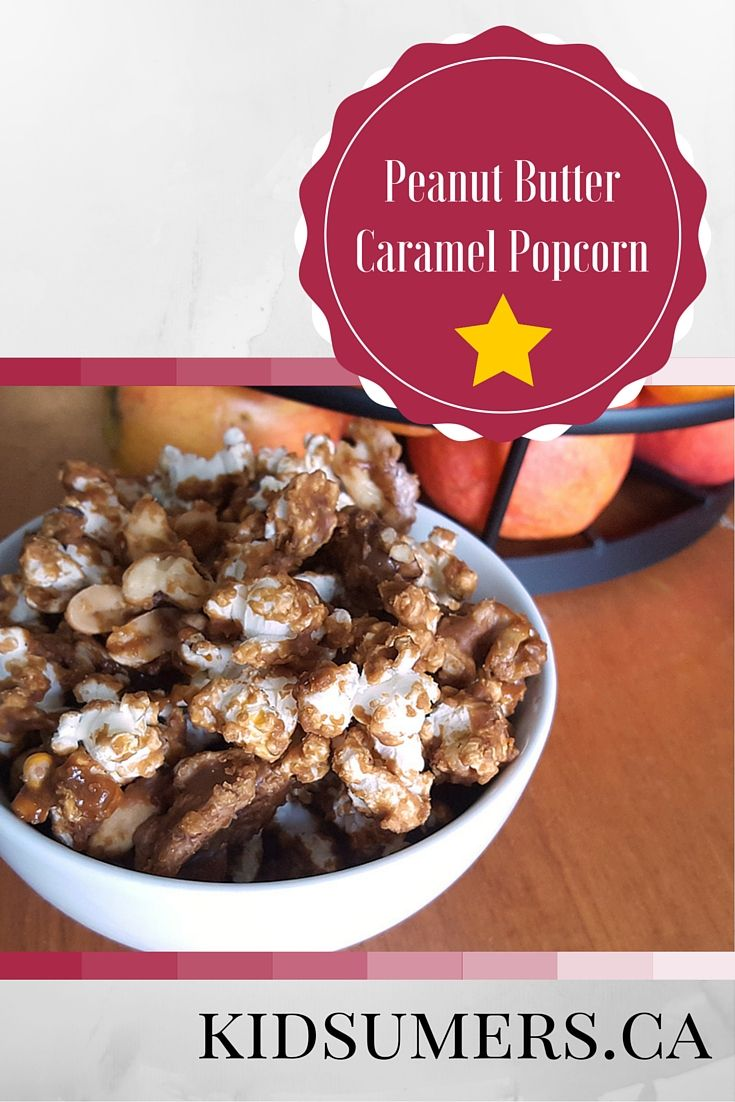 This peanut butter caramel popcorn is a tasty snack!