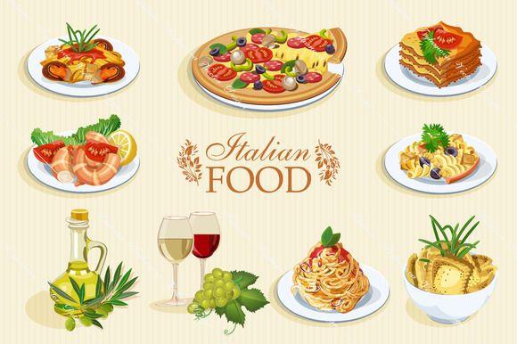 Set of Italian food icons. Cuisine ~ Illustrations on Creative Market
