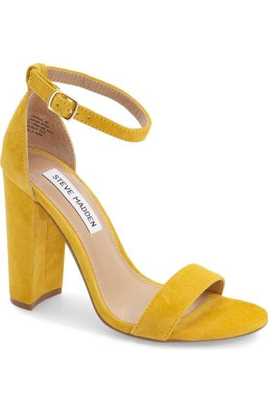 Steve Madden Carrson Ankle Strap Sandal Yellow Heeled Sandals
