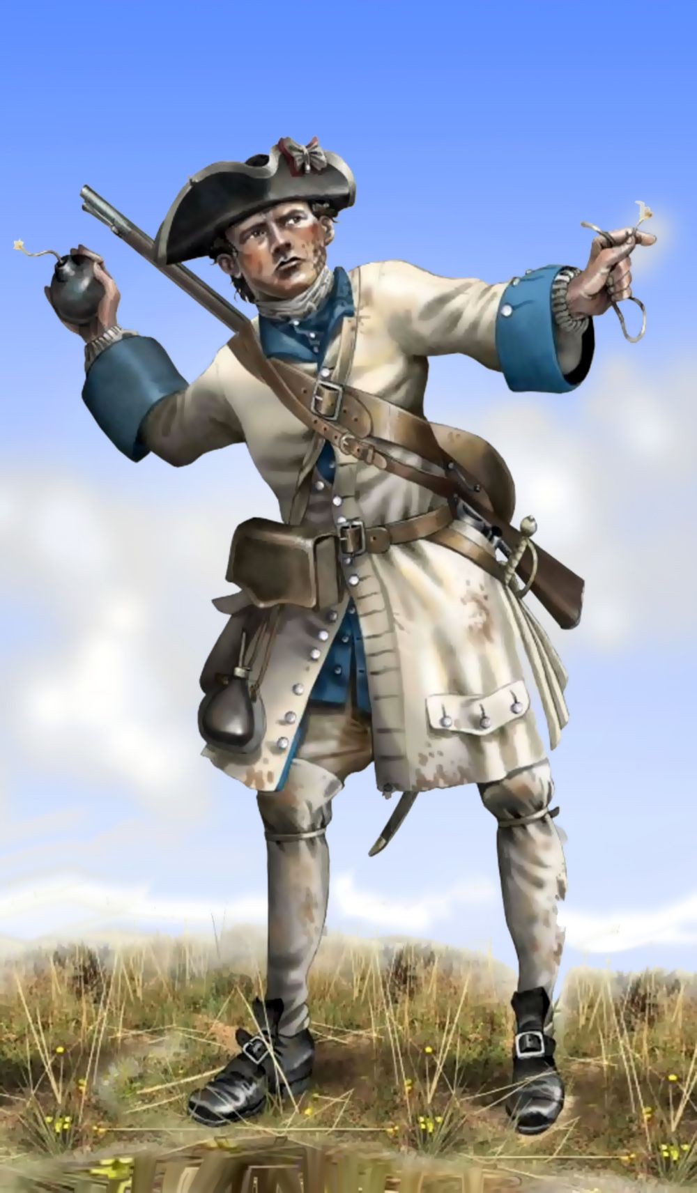 French grenadier throwing a grenade, Seven Years War, by (artist unknown). Help eliminate poor pinning! If you know the artist and can supply a link, please update this pin. Thank you!