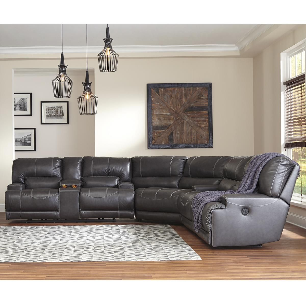 Millennium Mccaskill 3 Piece Leather Reclining Sectional Set In Gray Nebraska In 2020 Power Reclining Sectional Sofa Leather Reclining Sectional Reclining Sectional