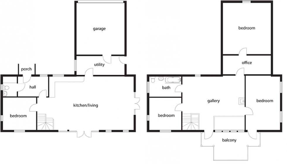 nice self build floor plans #4: House plans for an oak frame self build 220m2 Self build ($98,000 Ls)