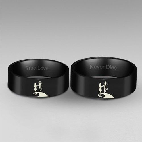 the nightmare before christmas inspired jack and sally ring his and hers rings black wedding rings - Nightmare Before Christmas Wedding Rings