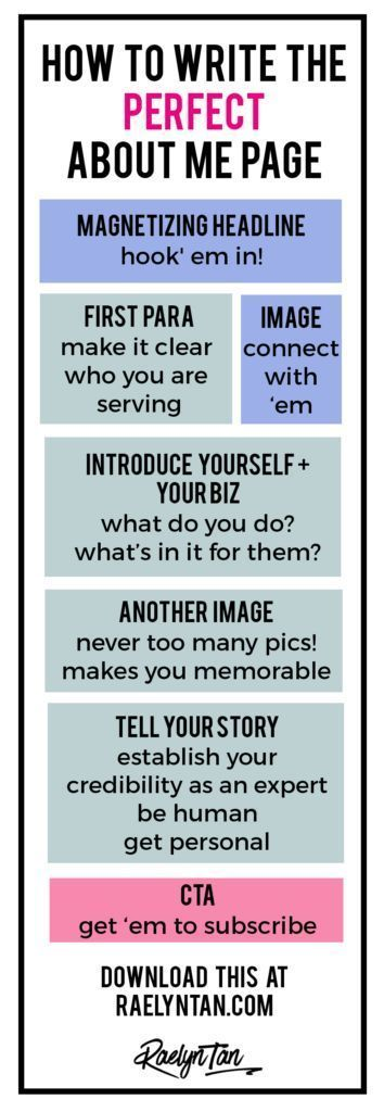 How to Write The Perfect About Me Page (Printable Template Included ...