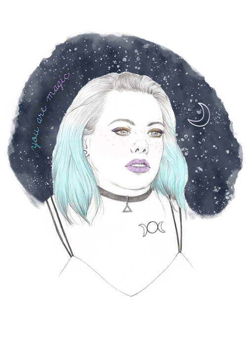 Modern witch portrait illustration by Kirsty Victoria. Quirky beauty illustration. #modernwitch