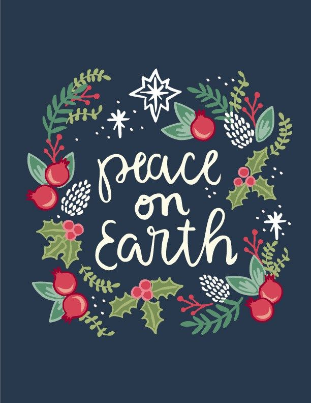 free printable peace on earth christmas artwork office