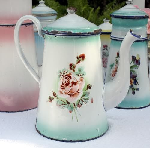 Antique French Rose & Pansies Floral Enamelware Co