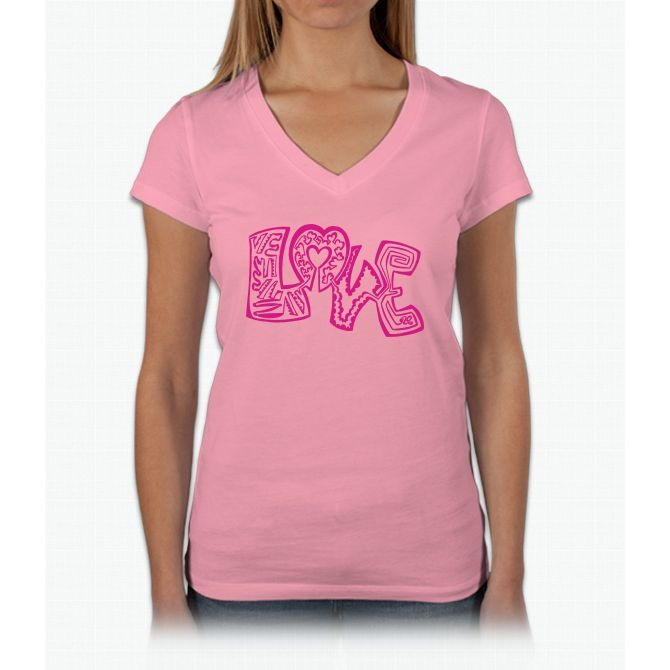 "Love ""one-liners"" Twenty One Womens V-Neck T-Shirt"