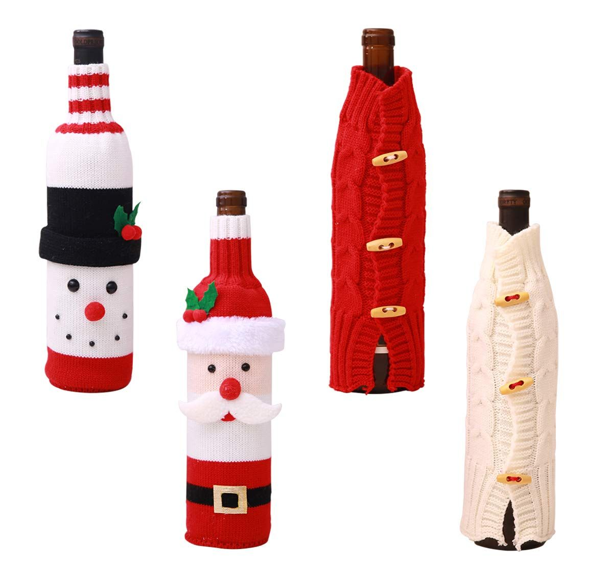 Christmas Wine Bottle Cover Knitted Wine Sweaters Cover Dress Xmas Dinner Table Christmas Wine Bottles Christmas Crochet Patterns Christmas Wine Bottle Covers