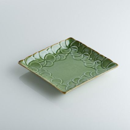 New Hand-Crafted Ceramic Jenggala Frangipani Flower Square Side Plate Green & New Hand-Crafted Ceramic Jenggala Frangipani Flower Square Side ...
