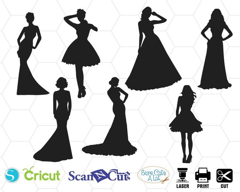 Dresses Svg Dress Silhouette Wedding Dress Clipart Party Etsy Dress Clipart Wedding Silhouette Silhouette Drawing