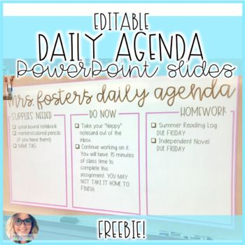 Daily Agenda Editable Ppt Slides With Images Middle School