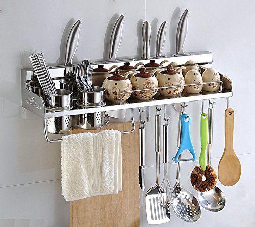 Multipurpose Stainless Steel Wall Mounted Hanging Kitchen Utensils Holder Organizer Rack Shelf