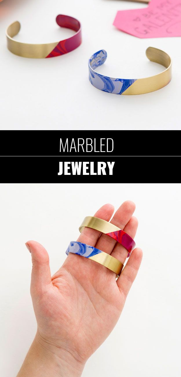 47 fun pinterest crafts that arent impossible cool diy ideas for fun and easy crafts easy diy marbled bracelet for fun jewelry solutioingenieria Images