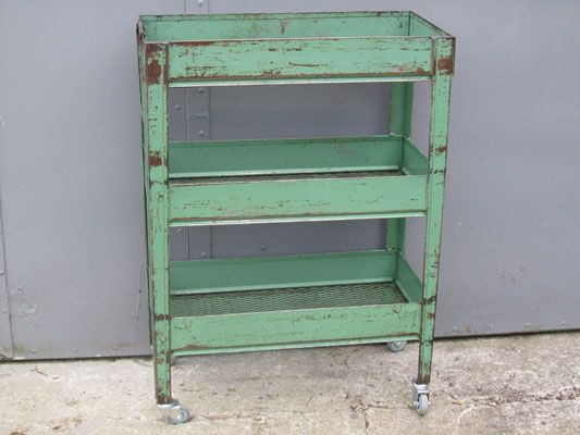 Vintage industrial trolley ..... (sigh...) LOVE the color on this too!  Would be great full of craft supplies.