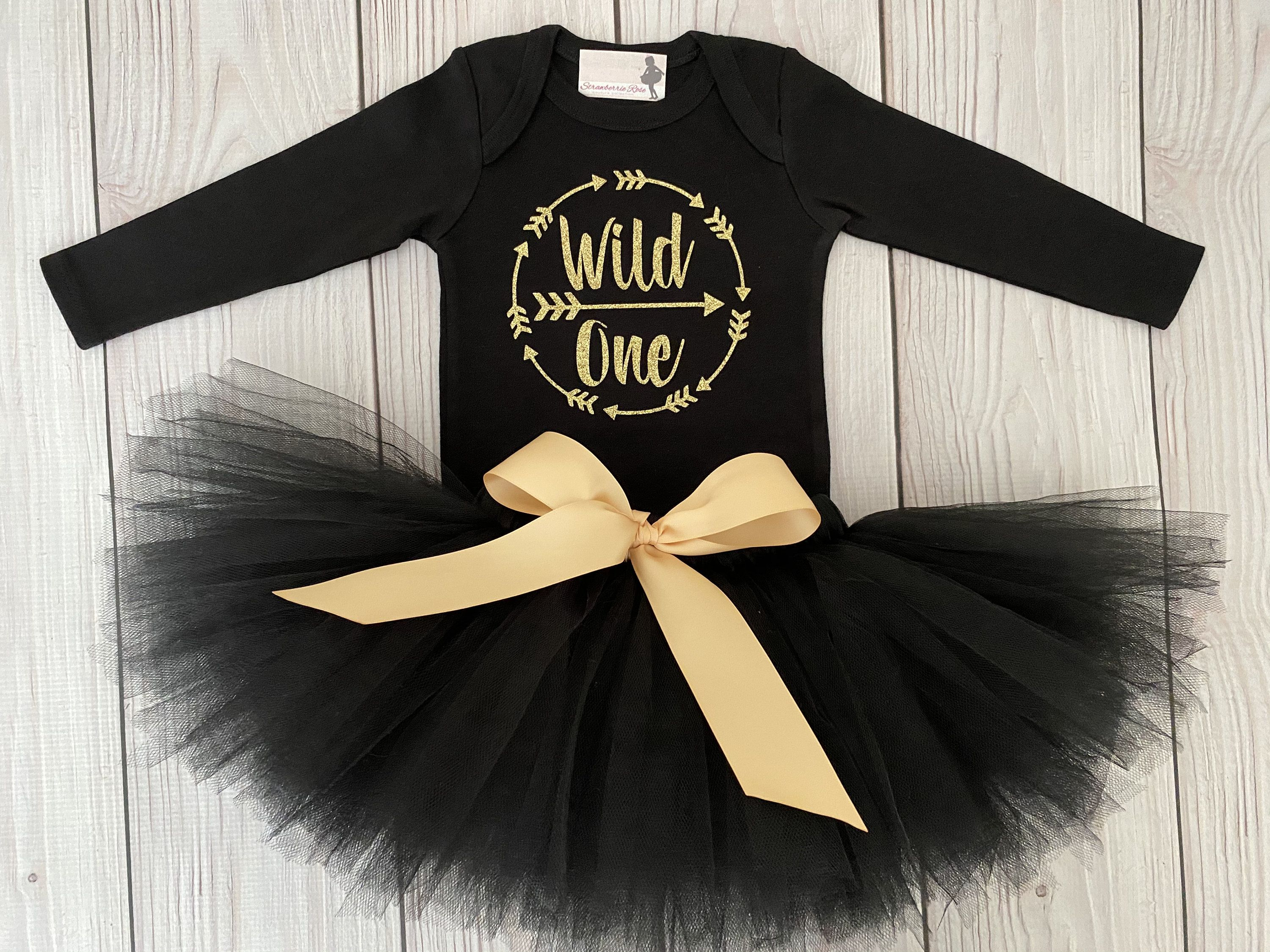 """/""""One/"""" First 1st Birthday Girl Outfit Tutu /""""Wild One/"""" Pink /& Black"""