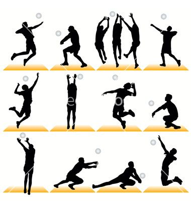 Volleyball vector image on   Volleyball poses, Volleyball ...