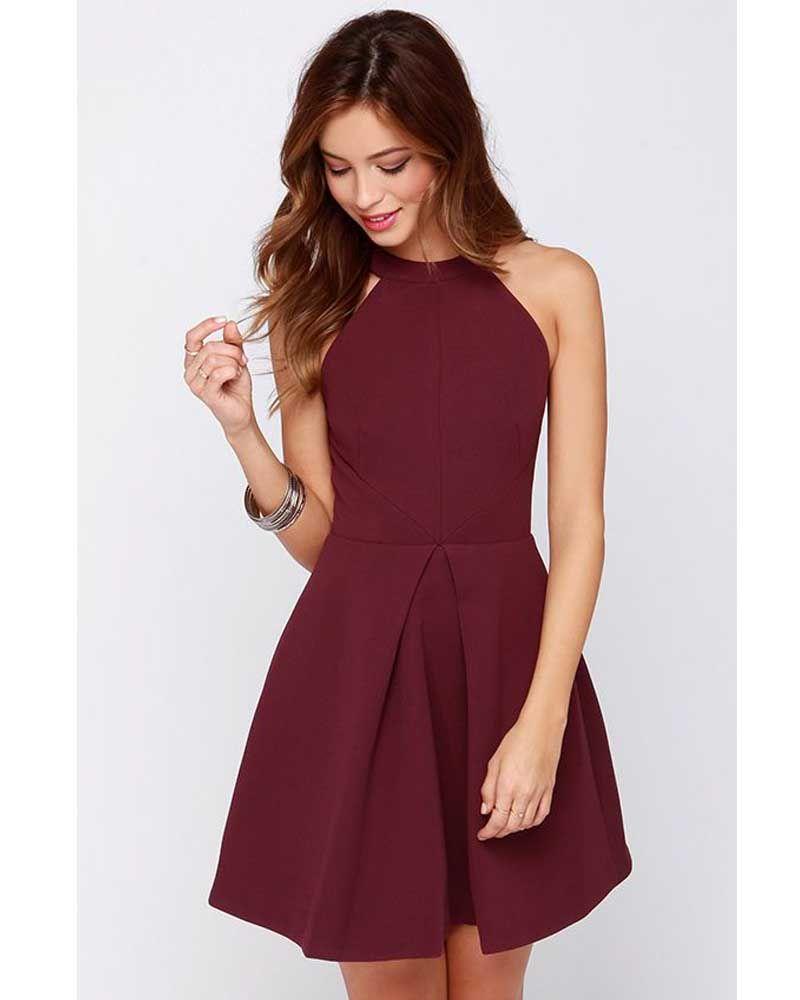 Find More Homecoming Dresses Information about New Arrival Halter Fashion  Burgundy Dress Homecoming Dresses 2015 A line Elegant Party Dresses LAtest  Short ... 02d86d6e2868