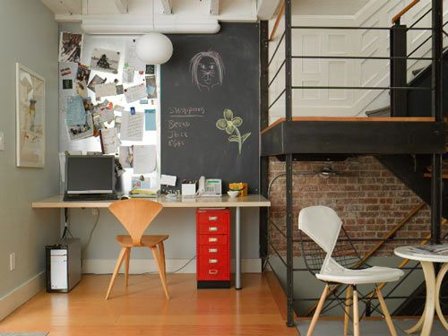 desk area love the metal pinboard next to the chalk wall, and the pop of red #home #decor