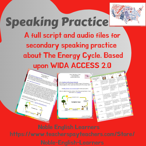 WIDA style Speaking Practice 2.0 for Secondary English