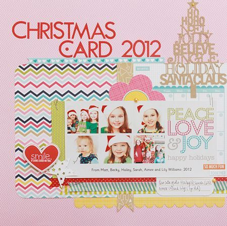 papercraft #scrapbook #layout Bella Blvd Kiss Me Collection - christmas card layout