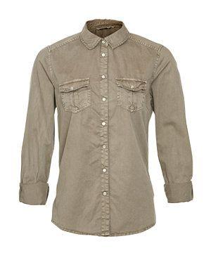 Khaki (Green) Khaki Twill Military Shirt   264528834   New Look