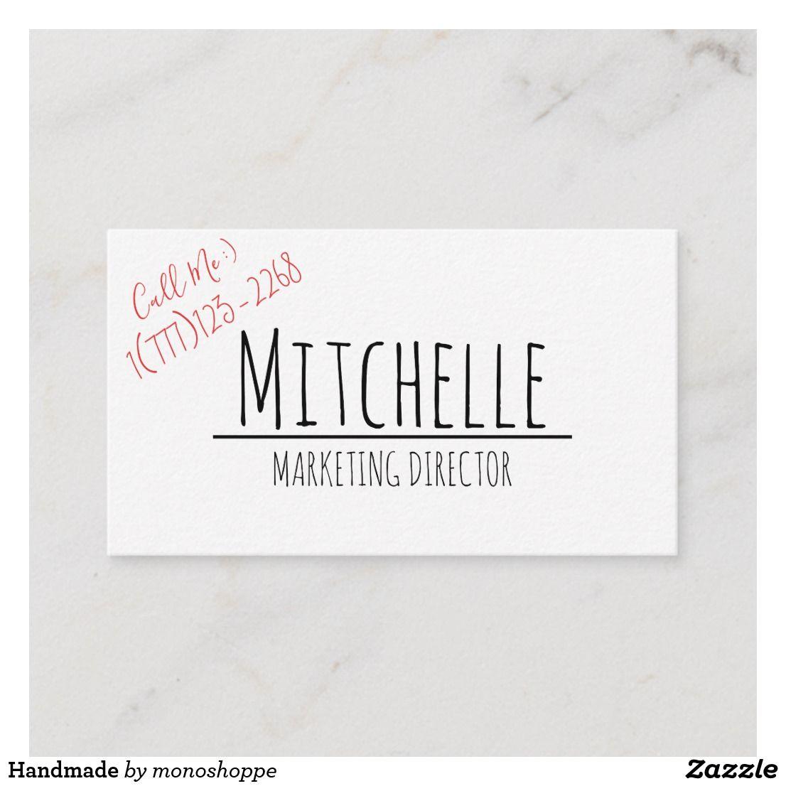 handmade business card  zazzle  handmade business
