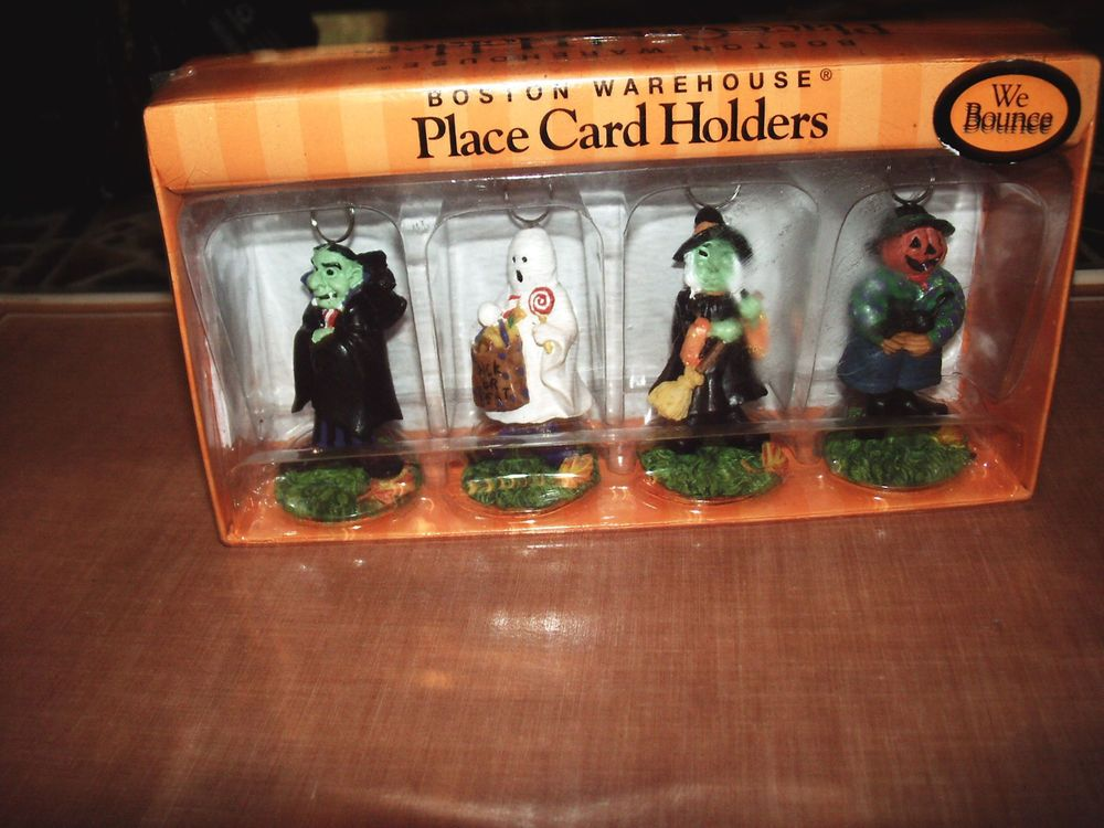 boston warehouse halloween figures bouncy place card holders set of 4 nib