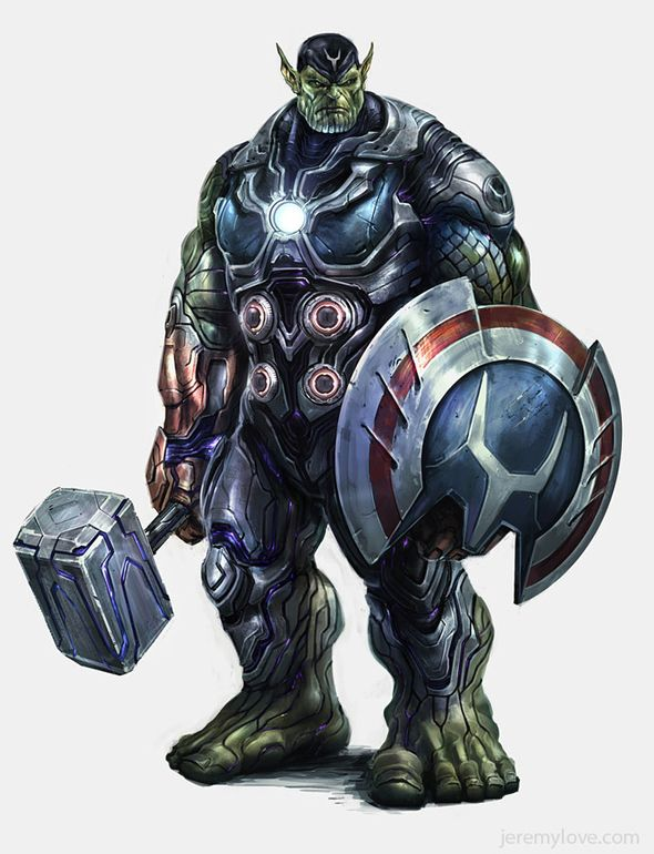 #Hulk #Fan #Art. (Hulk, Captain America, Thor, Iron Man, Skrull) By: Jeremy Lowe. (THE * 5 * STÅR * ÅWARD * OF: * AW YEAH, IT'S MAJOR ÅWESOMENESS!!!™) ÅÅÅ+