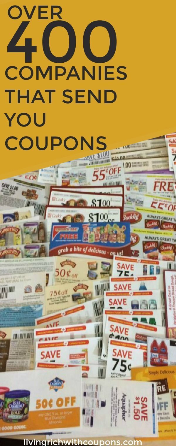 Huge List of Companies That Send You Coupons - Over 400 Companies