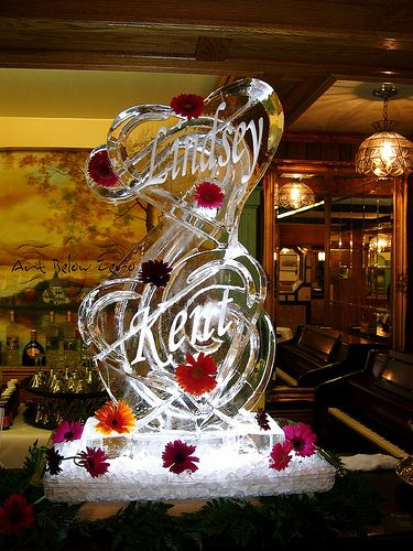 Double Heart Martini Luge Personalized Ice Sculpture Wedding Events