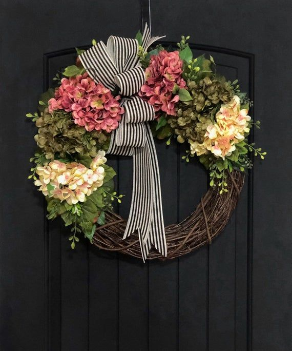 Photo of Wreath for Front Door, Spring Wreaths, Grapevine Wreath, Housewarming Gift, For Mom, New Home, Hydrangea, Rustic, Farmhouse decor, Summer