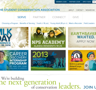 The Student Conservation Association: We completely overhauled the organization's main fundraising and recruitment sites. We created a super-flexible, mobile-responsive Drupal site that helps SCA recruit new partners and youth members.