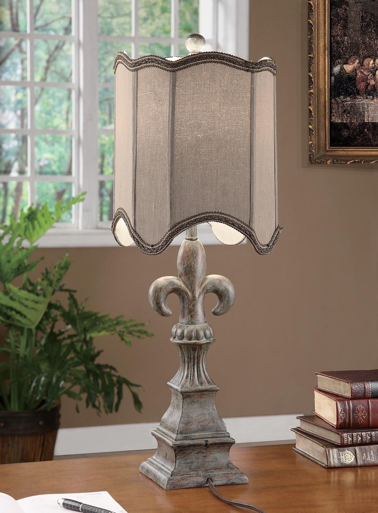 Tuscan Fleur De Lis Table Lamp Tuscan Fleur De Lis Table Lamp 29 Ht Resin Tuscan Grey Finish 10 10x10 10x12 75 Mushroom Silk Shade Lamp Table Lamp Home Decor