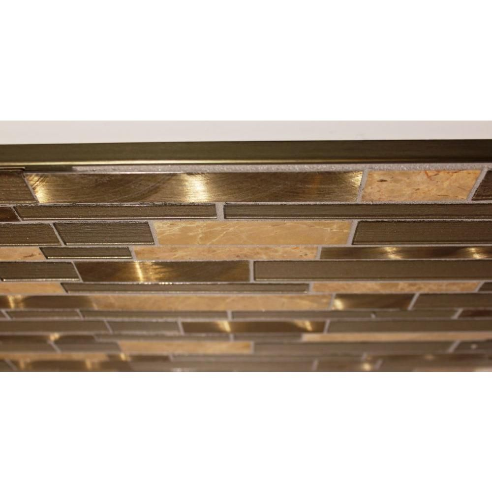 Custom Building Products Copper Anodized 3 8 In X 98 1 2 In Aluminum L Shaped Tile Edging Trim H8702cb98 The Hom Tile Edge Trim Fireplace Remodel Tile Edge