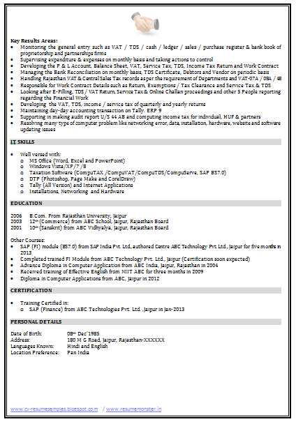 Sap Consultant Resume Sample Page   Career