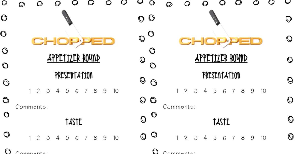 Chopped Scoring Sheet Pdf Chopped Food Network Chopped Tv Show Chopped