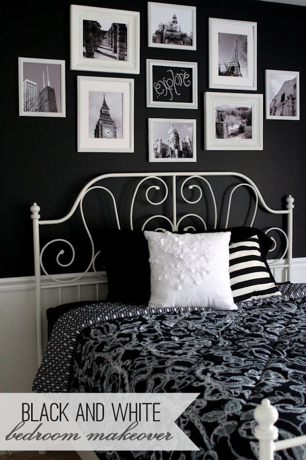 black and white bedroom makeover and chalk gallery wall bilderw nde gestalten. Black Bedroom Furniture Sets. Home Design Ideas