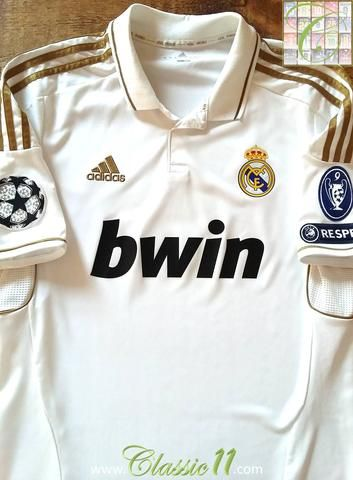 Relive Real Madrid s 2011 2012 Champions League with this original Adidas  home football shirt. 7e1d45334